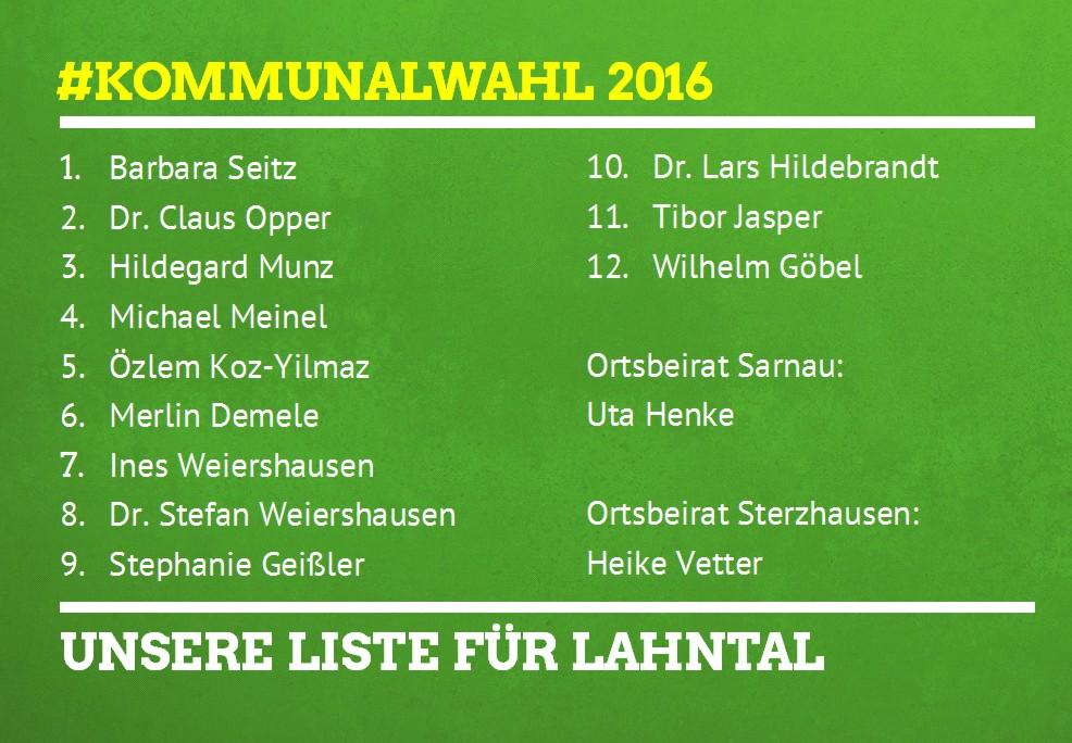 Grüne Lahntal Kandidaten Kommunalwahl 2016